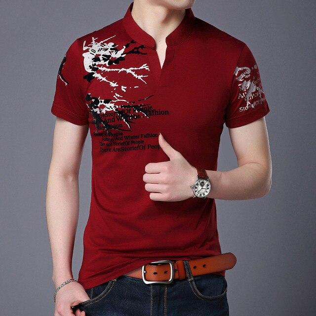 2018 여름 남성 티셔츠 V 칼라 프린트 반소매 티셔츠 부르고뉴 통기성 캐주얼 클래식 남성 의류 M 4XL