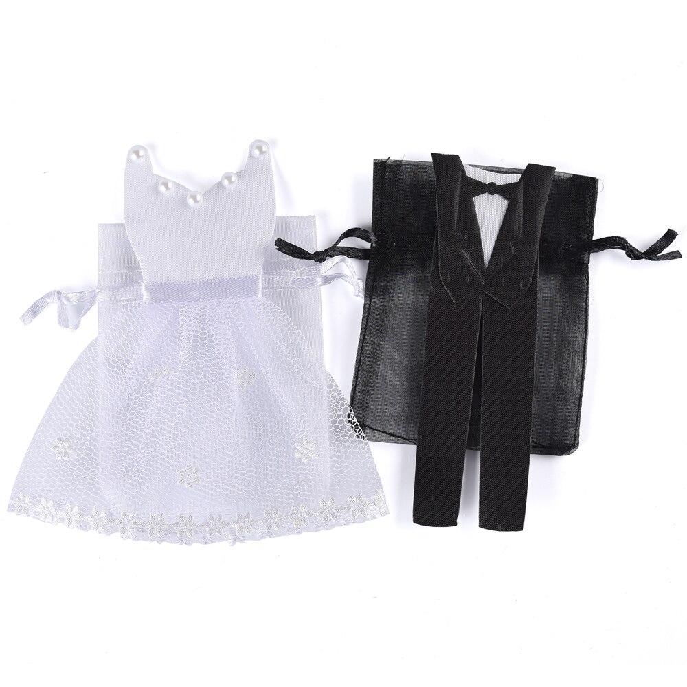 20 Pieces Organza Drawstring Candy Bag 10* Tuxedo & 10* Dress Bride ...