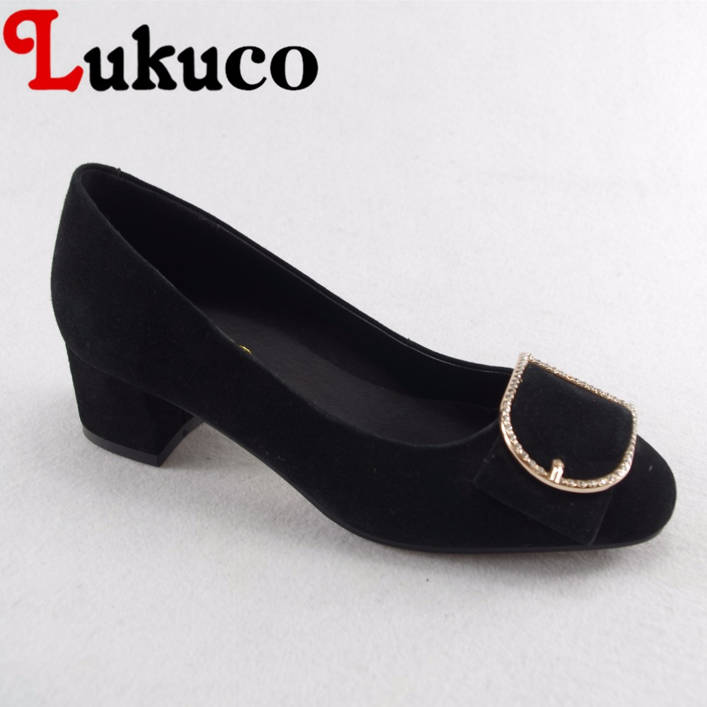 Lukuco mature style metal and rhinestones decoration women casual pumps microfiber made low heel shoes with pigskin inside lukuco pure color women mid calf boots microfiber made buckle design low hoof heel zip shoes with short plush inside