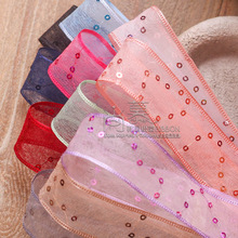100yards 25mm 38mm glitter polka dots korean wired organza sheer ribbon for wedding decorative supplies flower packing