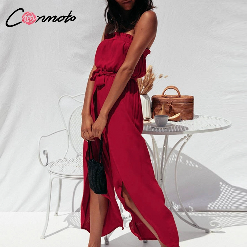 Conmoto Solid Sexy Split Casual Women   Jumpsuits   Rompers Beach Summer 2019   Jumpsuit   Strapless Bow Ruffles Rompers