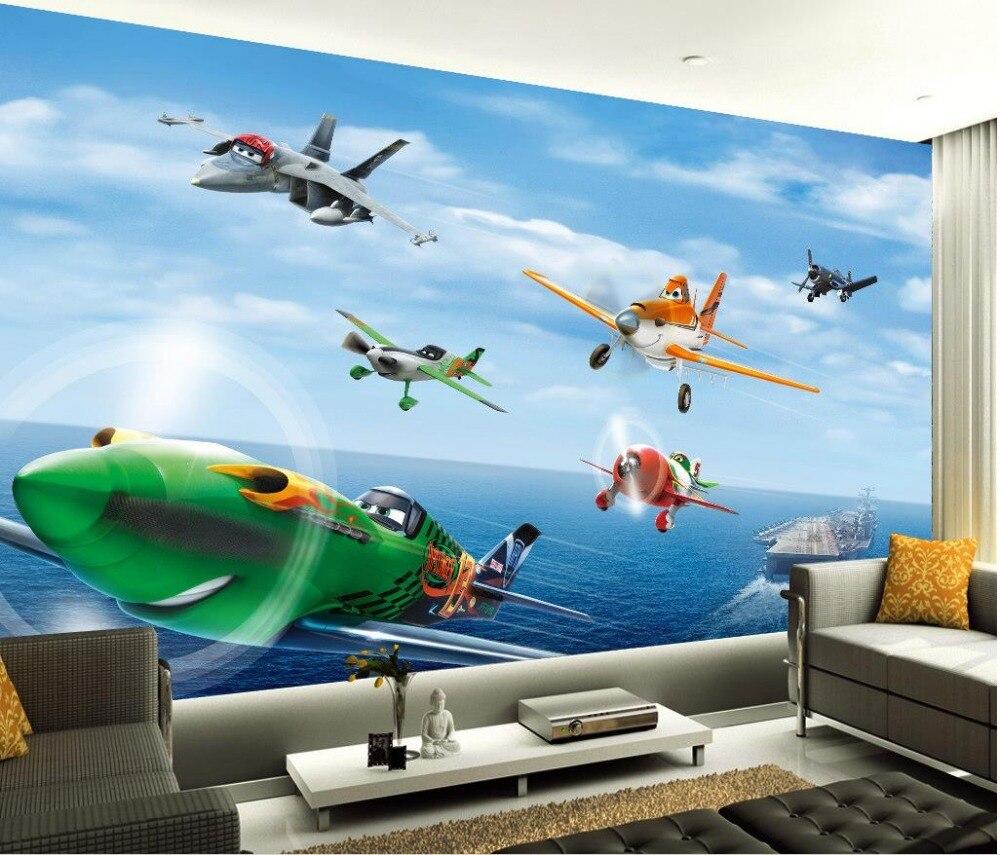 3d Stereoscopic Wallpaper Pesawat Kartun Animasi Ruang TV Latar