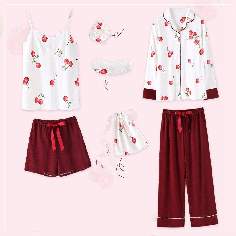 Femmes 2019 nouveau coton mignon masque pour les yeux dame printemps et été mince style maison porter imprimer à manches longues sept pièces pyjama ensembles
