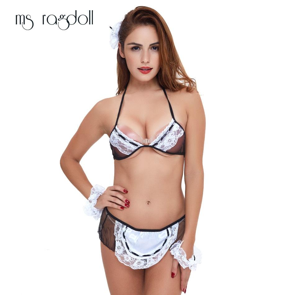 Heiße Frauen Sexy Dessous Spitze Cosplay Französisch Dienstmädchen Uniform Babydolls Sexy Kostüme Erotische Dessous Lenceria Sexy Porno Unterwäsche Exotische Damenbekleidung