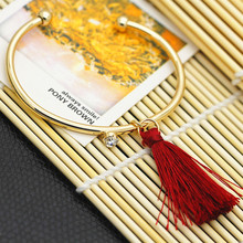 2016 fashion lady texture contracted tassel bangle bracelet