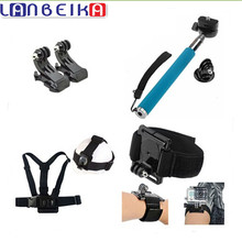 LANBEIKA For GoPro Surface J-Hook Monopod Mount Accessories Head Chest Wrist Strap Kit For SJCAM SJ5000 M20 SJ6 SJ7 GoPro 5 4 3+