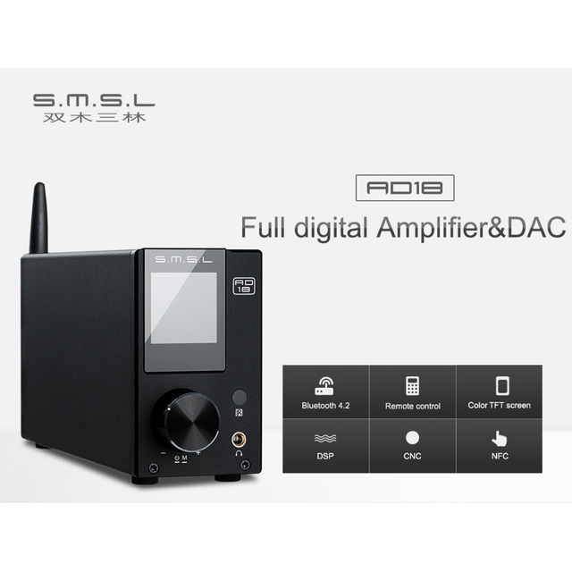 US $144 99 |SMSL AD18 Full digital Amplifier & DAC 80W*2 DSP HIFI Bluetooth  4 2 NFC Optical/Coaxial USB DAC Decoder with Remote Control -in Amplifier