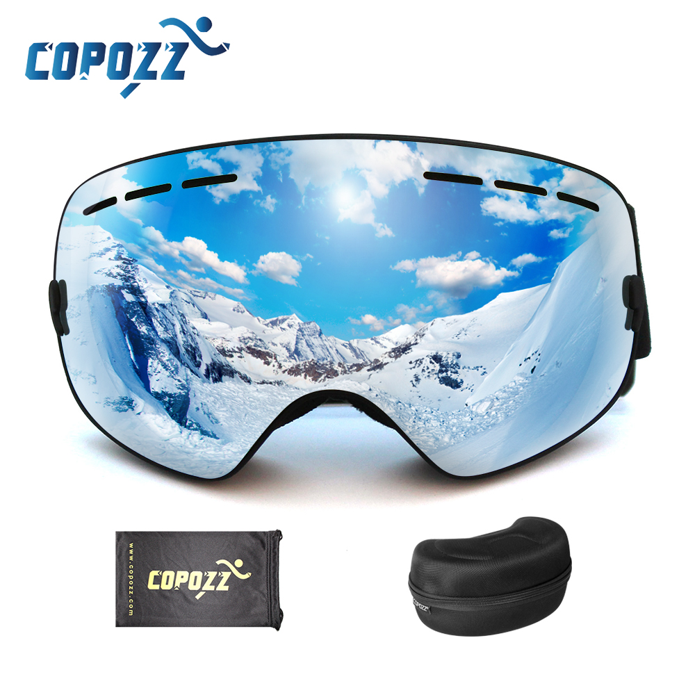 COPOZZ Ski Goggles With Case Anti-slip Strap Adult UV400 Anti-fog Ski Glasses Men Women Spherical Skiing Snowboard Snow Goggles