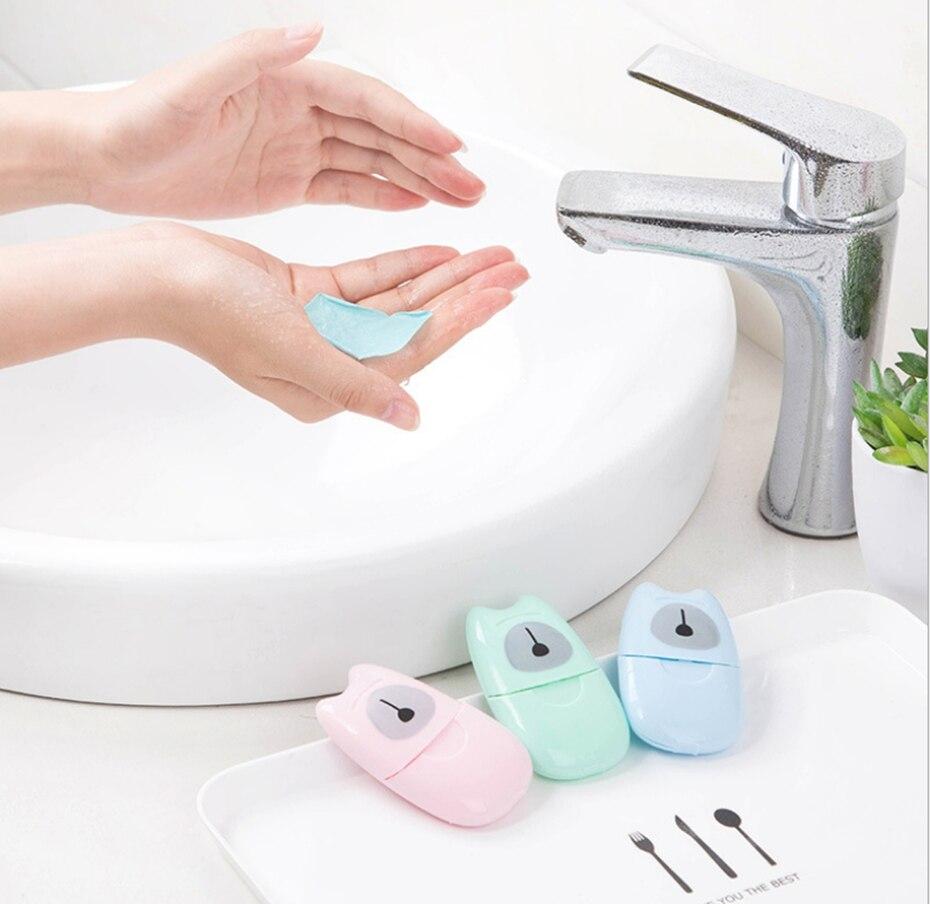 YINGTOUMAN Mini Outdoor Travel 50pcs Soap Paper Wash Hand Bath Clean Portable Soap Paper Pocket Multi Tools Disposable Box Soap