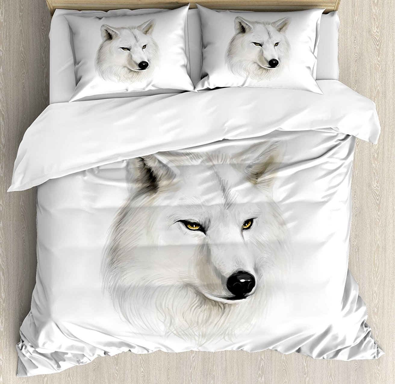 Wolf Duvet Cover Set White Canine Head with Great Detail Hunter Mammal Wildlife Nature Scene Art 4 Piece Bedding Set