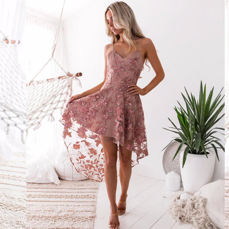 <font><b>Sexy</b></font> irregular Pink Lace <font><b>Summer</b></font> <font><b>Dress</b></font> vestidos de fiesta <font><b>Women</b></font> <font><b>Dress</b></font> <font><b>Sexy</b></font> Floral Print chiffon <font><b>Dress</b></font> Short Party Beach <font><b>Dress</b></font> image