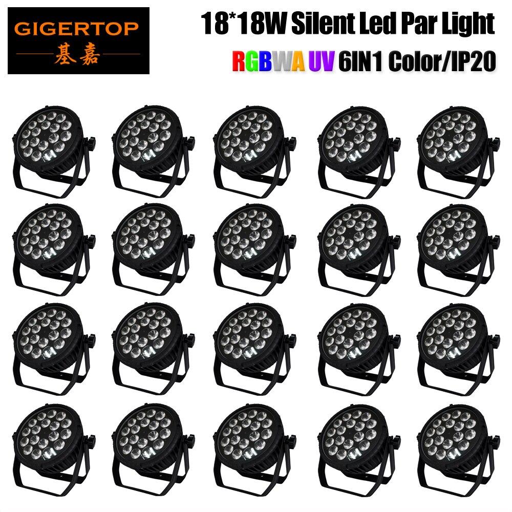 Gigertop 20 Pack CRONUS 18 RGBWAU 6 IN 1 Light Head 18W 6in1 Color 6/10 DMX Channels Indoor Flat Led Par Light Voice Activated