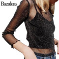 Bazaleas Primavera Moda Feminina Transparente Tule T Shirt Sexy Metálico Sentir de Fitness O Pescoço Camiseta Preta De Mangas Compridas Tops