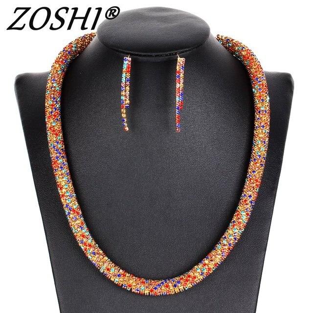 ZOSHI מסיבת זהב כסף סטי תכשיטי נשים תלבושות הצהרת שרשרת Drop עגיל אופנה רומנטי קלאסי אביזרי חתונה