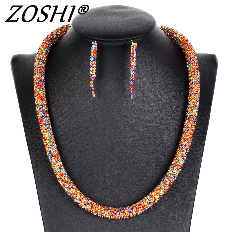 ZOSHI Party Jewelry Sets Women Costume Statement Necklace Drop Earring Fashion Gold/Silver Romantic Classic Wedding Accessories