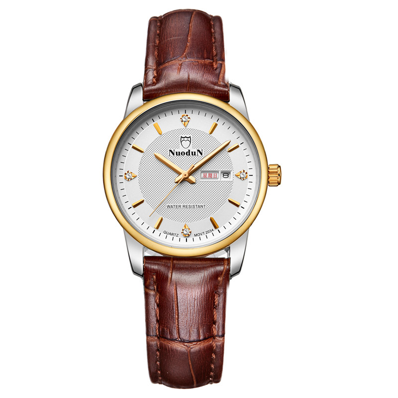 2016 New Famous Fashion Leather Strap Watch Women Quartz Week Display Auto Date Leather Watches For