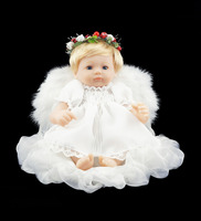 Cosette Vinyl Baby Dolls White Angel Wings 16 Inch with Cushion & Flower Garland