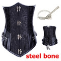 Black Brocade Collared Top Sexy Cupless Waist Trainer Vest Corset Gothic Waist Corsets Steel Boned Steampunk Clothing