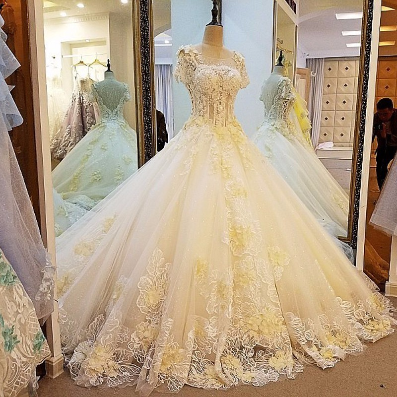 Backlake Luxury Sexy Fashion High-end Tulle Wedding Dresses 2018 Vintage Short Sleeves Beading Crystal Dresses Bridal Gown