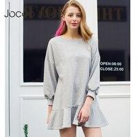 Jocoo Jolee איחה חולצות שמלה עם פאף שרוול O-צוואר בגדי סגנון הסטודנטיאלי אופנה ילדה שמלת שמלות רופפות מזדמנים 2018