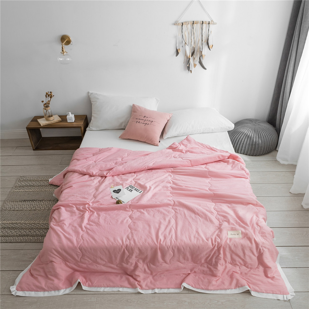 Colcha de verano de Color puro de estilo Simple, colcha de Color rosa, edredón, cubrecamas suave, colcha doble de cama completa, ropa de cama sólida Textiles para el hogar ropa de cama edredones de alta calidad cómodo de lujo espesar invierno colcha caliente calidad manta de costura