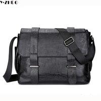 Leather Men Messenger Bags Vintage Black Business Men Shoulder Crossbody Laptop Bag Casual High Quality Briefcase