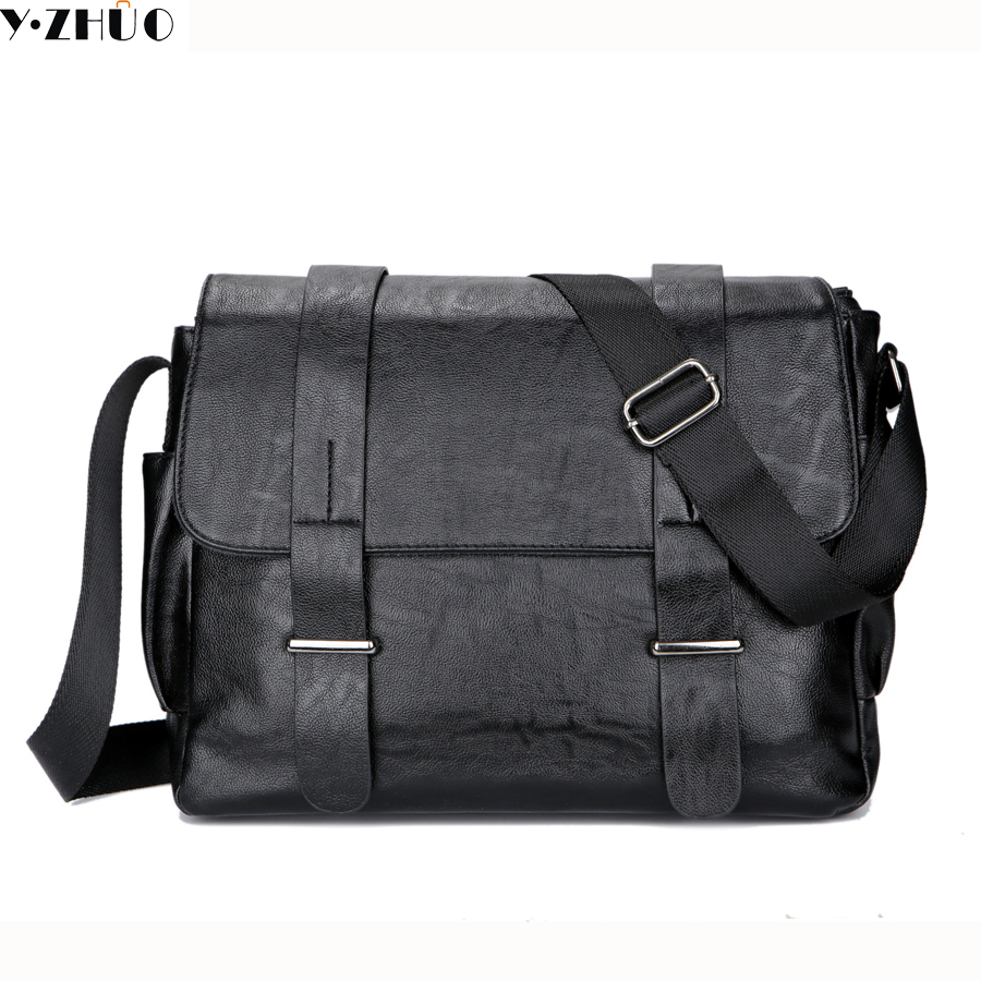 leather men messenger bags vintage black business men shoulder crossbody Laptop bag casual high quality briefcase free shipping цена