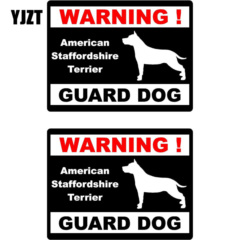 YJZT 15*11.5cm 2x Cartoon WARNING American Staffordshire Terrier Guard Dog Fun Retro-reflective Decal Car Window Sticker C1-8158 the guard dog