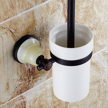 Oil Rubbed Bronze Wall Mounted Bathroom Toilet Brushed Holder W Ceramic Cup