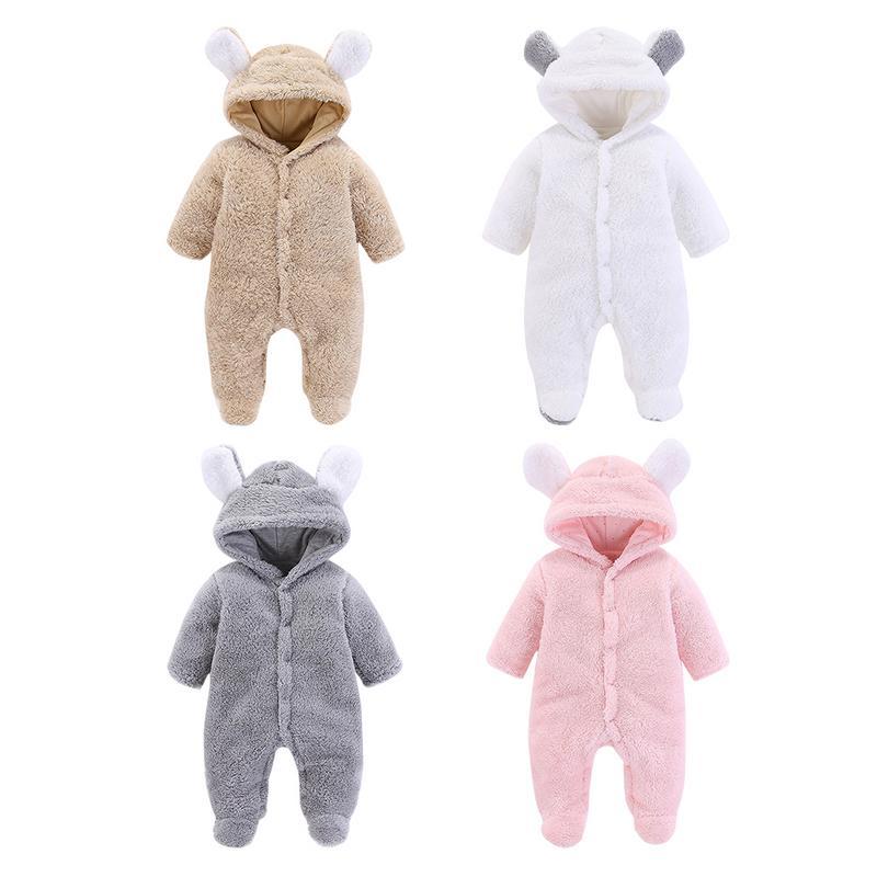 Newborn Infants Baby Warm Cotton Jumpsuit Boy Girl's Climb Clothes Coral Fleece Cotton Baby Pajamas Climb Clothes