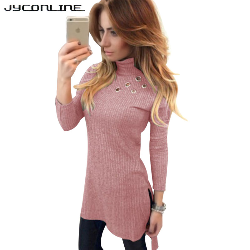 JYConline Casual Turtleneck Knitted Sweater Dress Women Hole Slim Bodycon Dress Pullover Female Split Autumn Winter Dresses Robe women turtleneck front pocket sweater dress