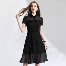 Black Chiffon Dress Summer 2019 Women's Turn Down Collar Short Sleeves Perspective Patchwork Ruffles Slim A-Line Elegant Dress women chiffon dress elegant 2019 spring new fashion solid color turn down collar long sleeved ruffles slim a line green dress