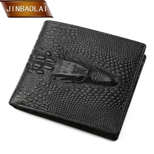 JINBAOLAI Men Wallet Fashion 3D Crocodile Genuine Leather Wallet Bifold Design Card Holder Purse With Coin Pocket carteira