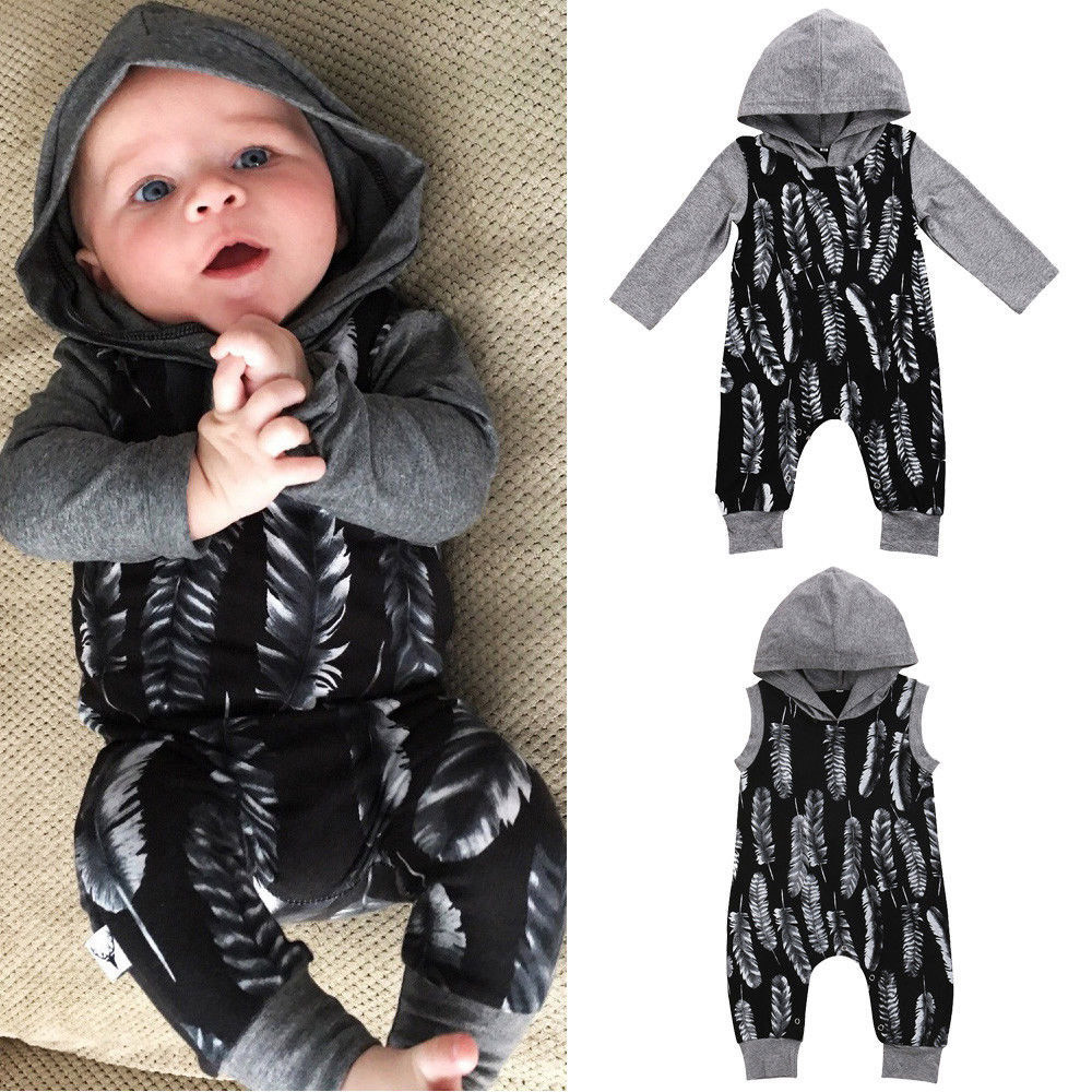 Newborn Infant Baby Boy Girl Fashion Long Sleeve Cotton Hooded Feather   Romper   Jumpsuit Outfits Clothes