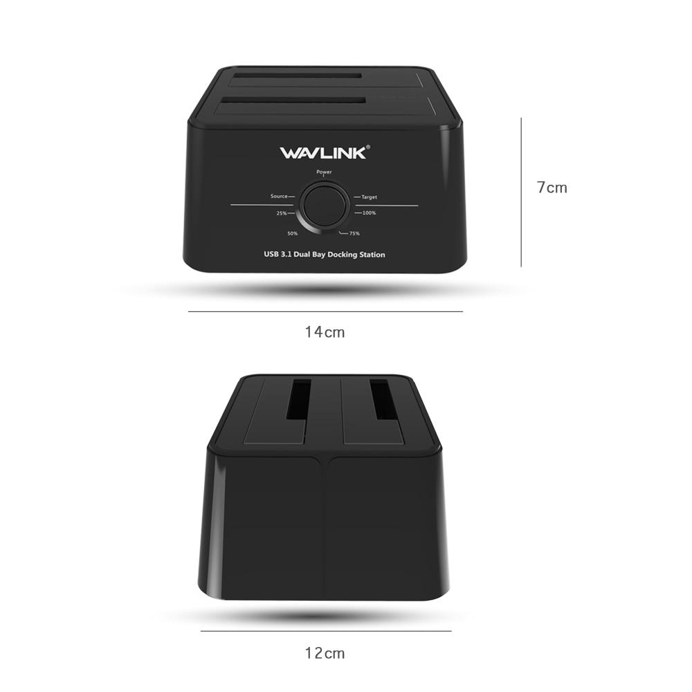 Wavlink USB 3.1 TypeC vers SATA double baie Station d'accueil 2.5/3.5 SSD HDD SATA 1/2/3 boîtier pour 2*8 to avec sauvegarde de Clone hors ligne - 5