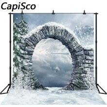 Capisco backdrop para estúdio fotográfico neve montanha lago Pedra arco Natal fundo cenário photobooth photocall