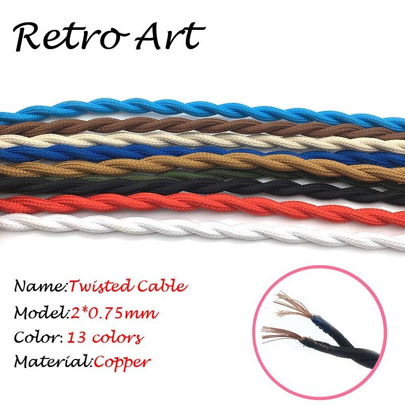 Schwarz Farbe 2x075mm2 Vintage Edison Stil Twisted Kabel Verdreht