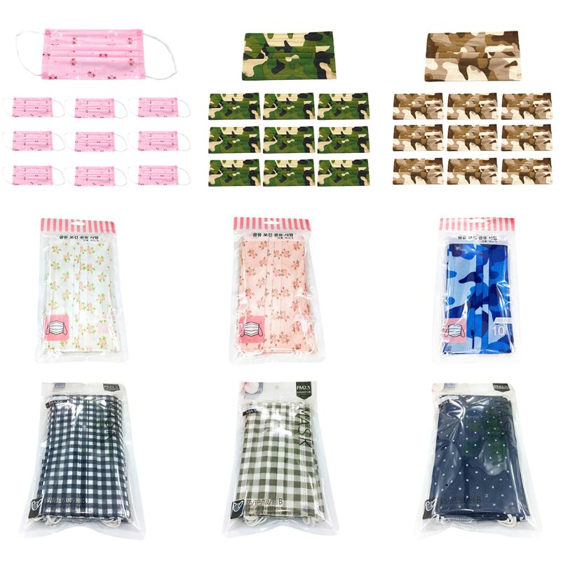 10Pcs/Set Unisex Anti Dust Disposable Mouth Mask Colored Floral Camouflage Plaid Printed Three Layer Spunlace Non-Woven Mask