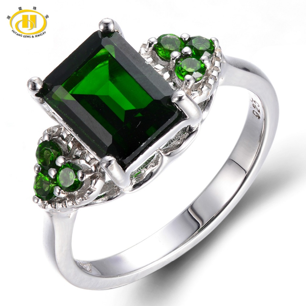 Hutang Emerald Cut Natural Chrome Diopside Wedding Ring Solid 925 Sterling Silver Womens Green Gemstone Fine Jewelry 2017