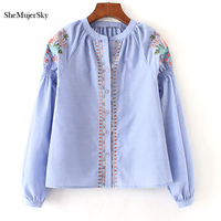 SheMujerSky Women Shirts Blue Long Sleeve Embroidery Blouse Stand Neck Womens Tops 2017