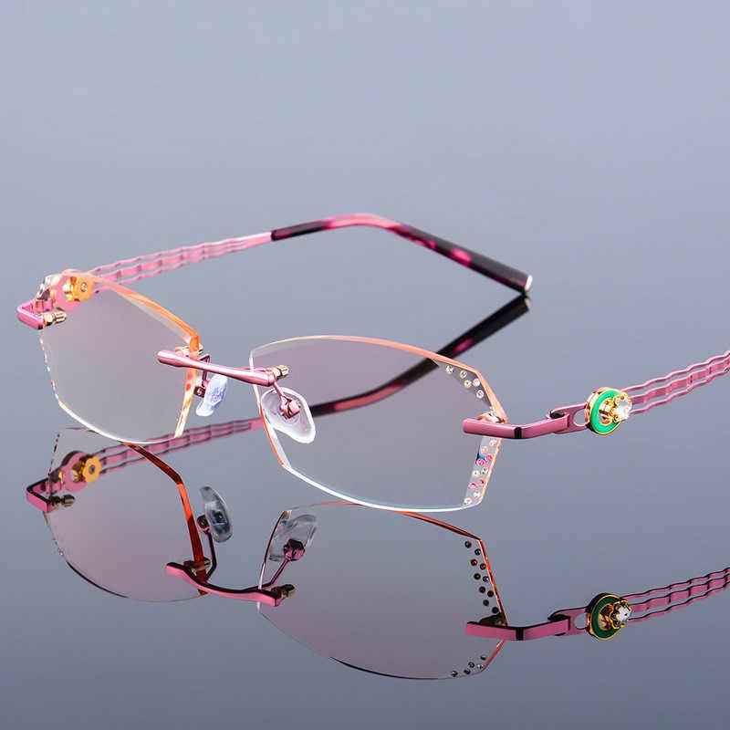 fe9e3e099b4c High Clear Anti Reflective Rhinestone Reading Glasses Women Pink Eyeglasses  Diamond Cutting Rimless Presbyopic Eyewear New