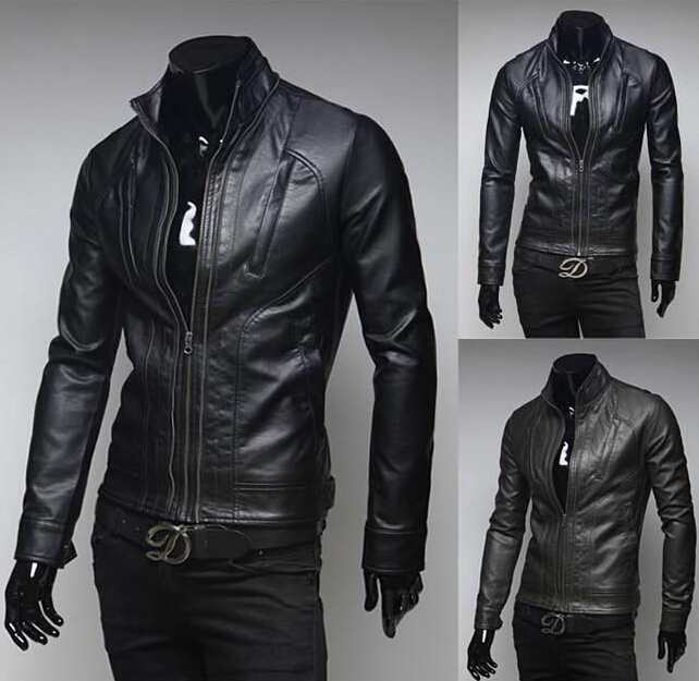 Leather jacket,2015 winter Fashion Men's Casual Classic style ...