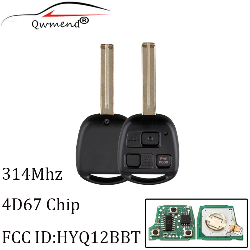 314Mhz 3 Buttons Remote Uncut Blade Entry Fob Ignition Power <font><b>Key</b></font> For <font><b>Lexus</b></font> RX330 <font><b>RX350</b></font> RX450h For HYQ12BBT +4D67 Chip image