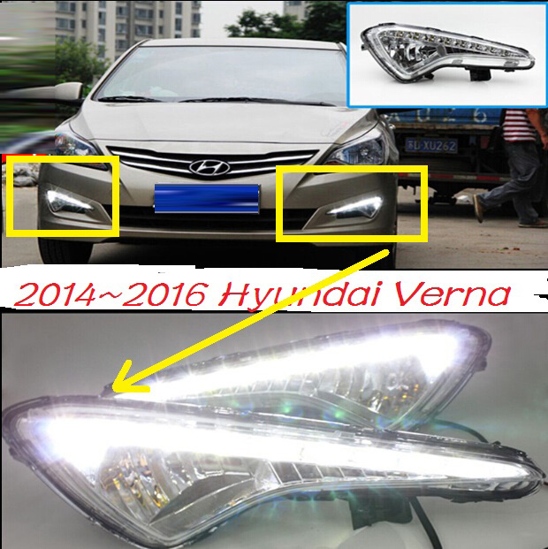 2015~2016 Verna daytime light,Normal:need base!/Luxry version,Free ship!accent,LED,Verna fog light,2ps/set;solaris;ix35 accent verna solaris for hyundai led tail lamp 2011 2013 year red color yz