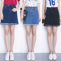 Elastic Waist Plus Size Denim Skirt High Waist Jeans Skirts Womens A Line Pencil Skirt Sexy