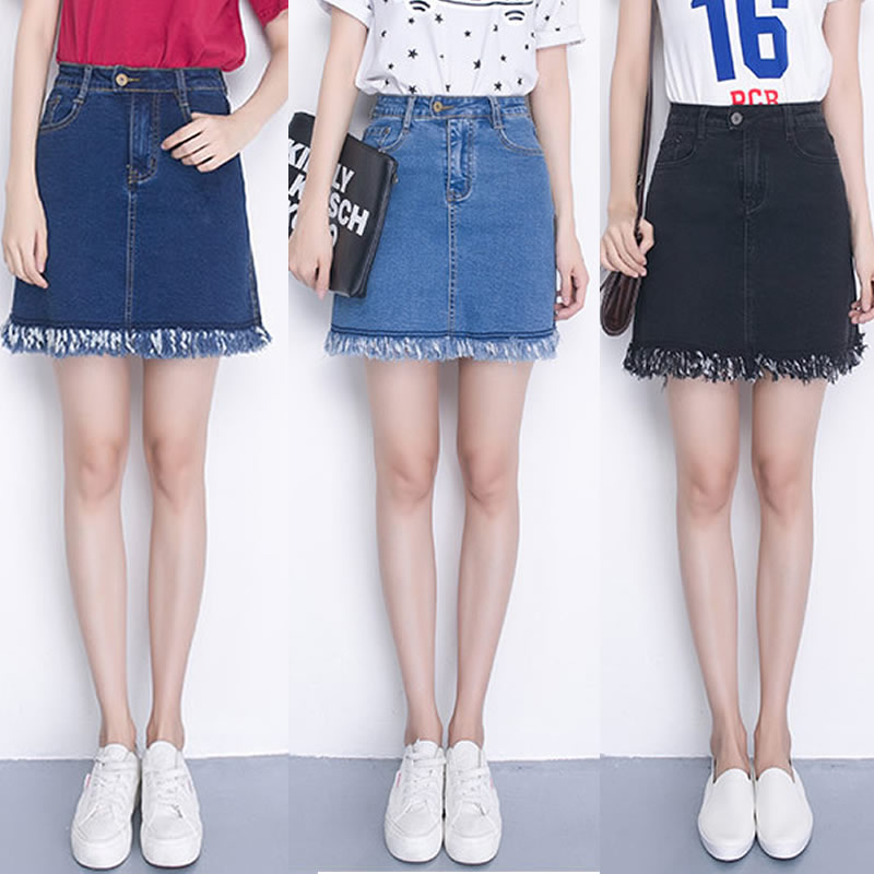 elastic waist plus size denim skirt high waist