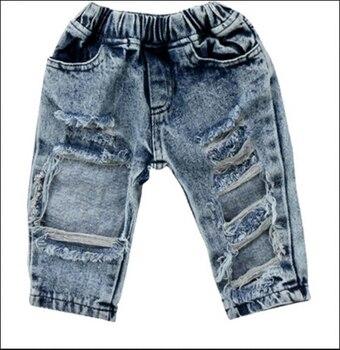 Bebê recém-nascido da criança crianças meninas moda bog buraco calças jeans roupas