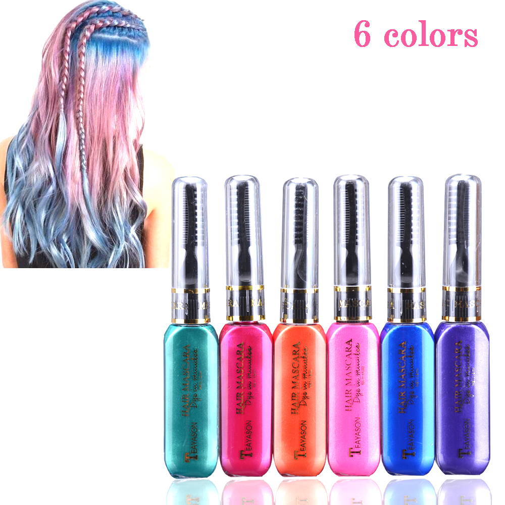 6 Washable Colors One-time Hair Color Hair Dye Pomade Temporary Non-toxic DIY Hair Wax Mascara Dye Cream Grey Purple Mud Cream