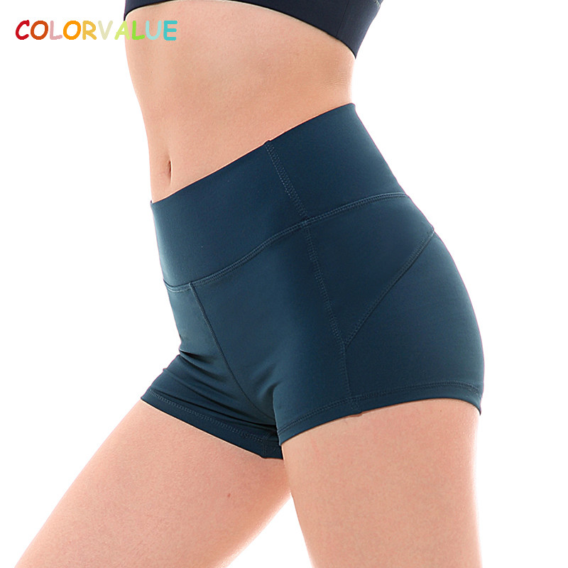 Colorvalue Stretchy Slim Fit Sport Shorts Women Nylon Mention Hip Fitness Gym Workout Shorts High Waist Solid Yoga Dance Shorts chic mid waist button design ripped denim shorts for women