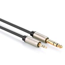Высокие Премии AV127 3.5 мм до 6.35 мм Аудио Адаптер Кабель для Смесительный Усилитель Aux Кос Кабо